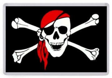 Pirate Flag Fridge Magnet. Jolly Roger, Skull and Crossbones